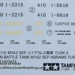 04 Decal sheet Tamiya M1A2 SEP Abrams TUSK II review (By Boris Kamp)