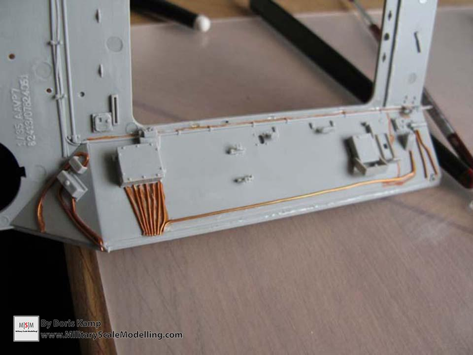 adding brass wire and improving the benches (AAVP-7A1 RAM RS HobbyBoss 82415)