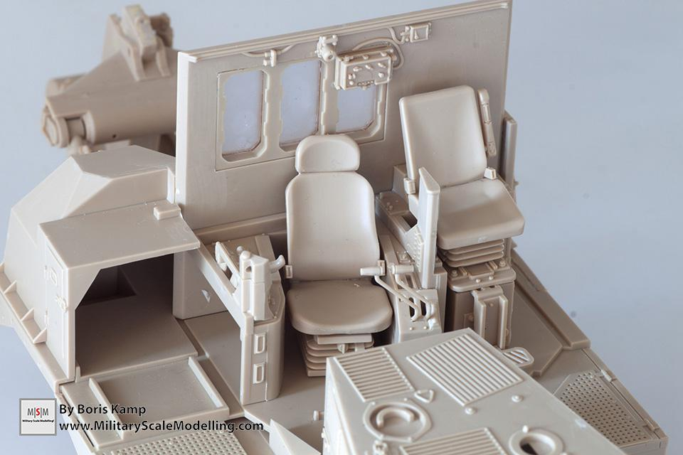 the cabin of the bulldozer (1:35 D9R Bulldozer Meng SS-002)