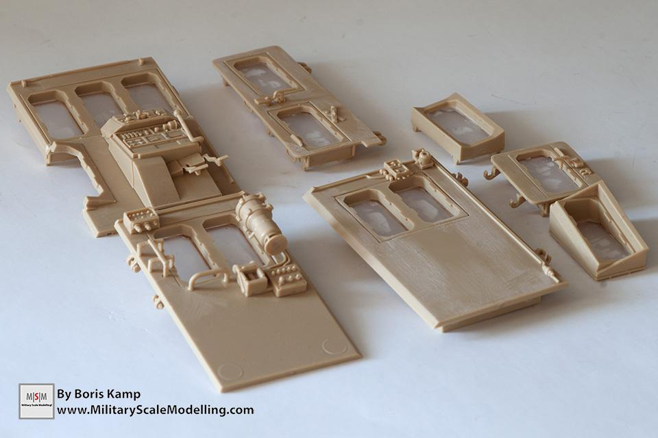the exterior panels of the cabin (1:35 D9R Bulldozer Meng SS-002)